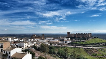 Castillo at Banos de la Encina, Spain. View from the cheap hotel in town. Nothing to do here except enjoy the vuew with ...