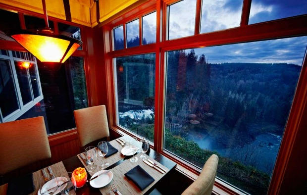 The dining room overlooks Snoqualmie Falls.