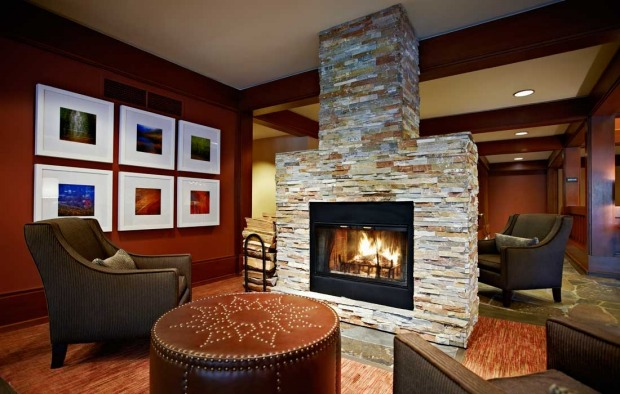 Cosy fireplace in a common area of the Salish Lodge.
