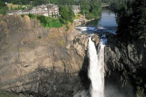 Salish Lodge sits over the magnificent Snoqualmie Falls, one of Washington State's biggest tourist attractions.