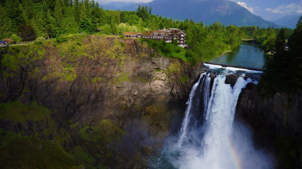 Salish Lodge overlooking Snoqualmie Falls.