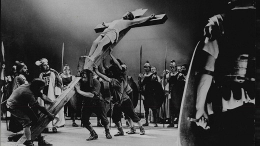 The Passion Play in 1970:  the cross is hauled into position.