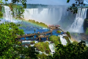 Tourists at Iguassu Falls, near the border of Argentina and Brazil.