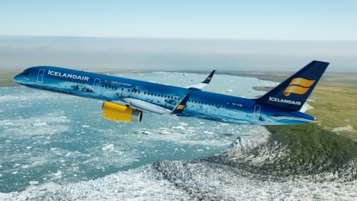 Icelandair's Boeing 757-200 with livery depicting the Vatnajokull glacier.