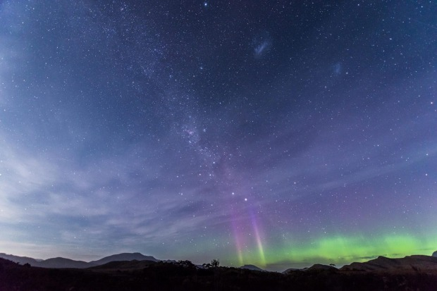 Aurora australis is visible from southern Tasmania