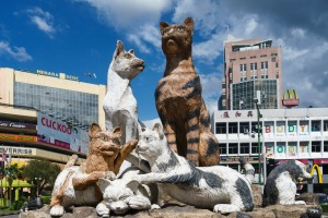 Cat statues in Kuching.