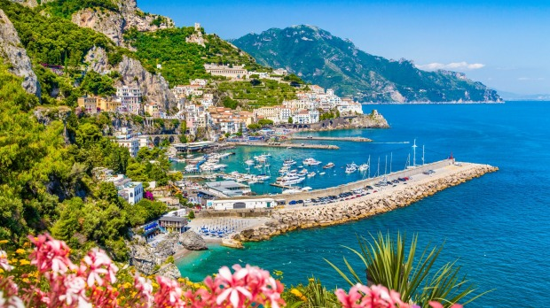 Scenic picture-postcard view of famous Amalfi Coast with beautiful Gulf of Salerno, Campania, Italy.