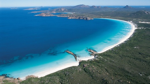Aerial view of Lucky Bay, Cape Le Grand National Park, Coral Coast, Western Australia.