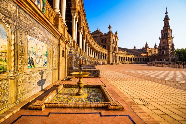 Spanish Square (Plaza de Espana) in Seville at sunset, Andalusia, Spain.