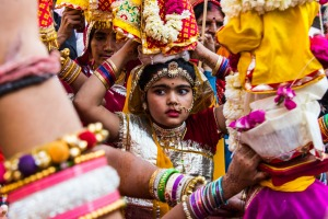 Girl in the Mewar Festival procession in Udaipur.