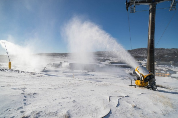 There are 30 snowguns firing across the valley to set the slopes up for opening weekend at Perisher Ski Resort.