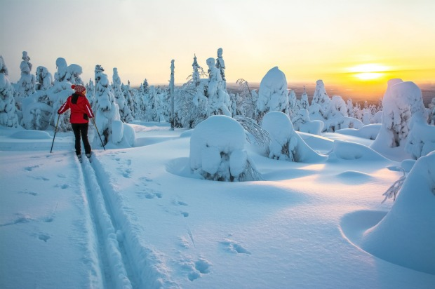 Cross country skiing in Lapland, Finland.