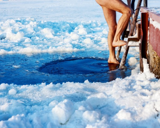 A quick dip in the ice hole.
