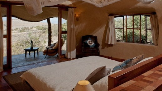 A bedroom in one of Lewa's four earth pods.