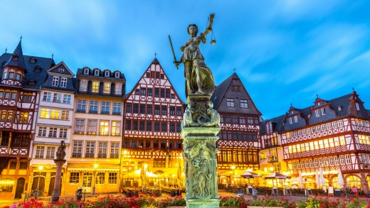The old town square in Frankfurt.