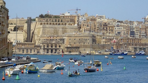 Valletta's old town and fortifications from the harbour.