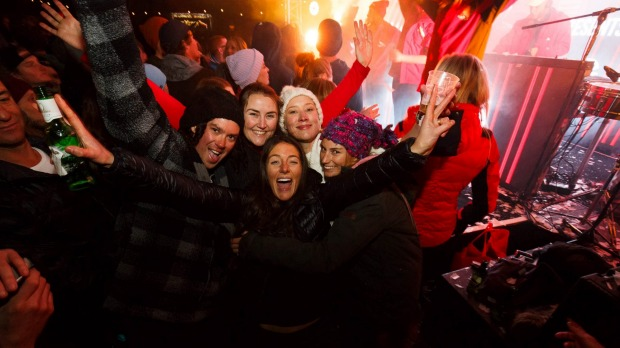 Thredbo transforms into a party town at night.