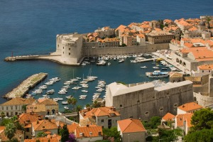 Dubrovnik old town and marina.