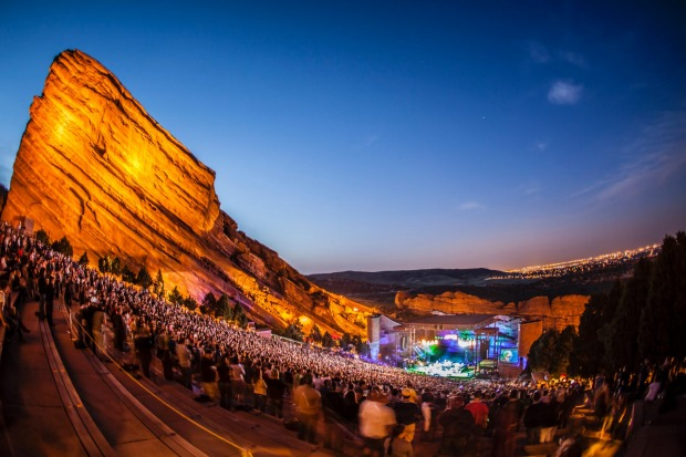 The world famous Red Rocks Amphitheater in Colorado.