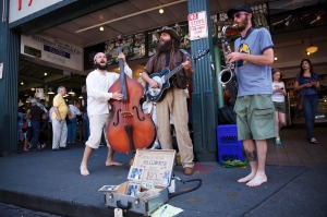 A trio playing in front of the Pike Place Market in Seattle, USA.