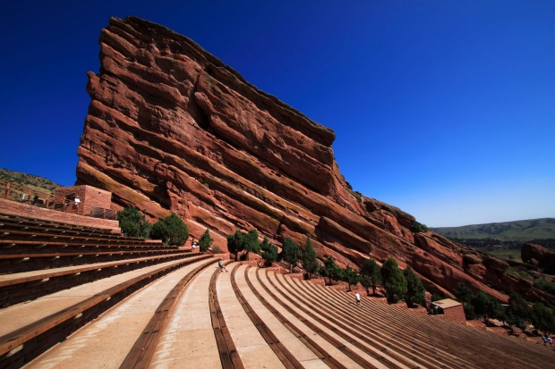 Creation rock at the world famous Red Rocks Amphitheater in Colorado.