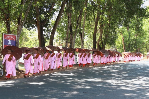 Novice nuns walking to the pagoda on the road from Yangon to Pyay in Myanmar provided this memorable moment.