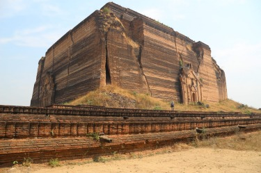 This massive unfinished pagoda, the Pahtodawgiji, is in Mingun on the Ayeyarwady River in Myanmar and can be reached by ...