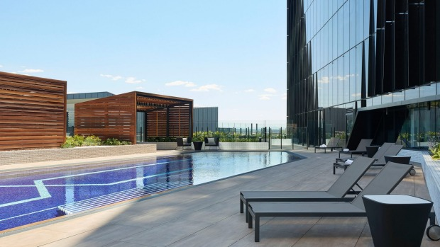 The seventh-floor pool at Four Points by Sheraton Melbourne Docklands.