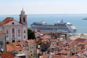 The Oceania Insignia docked in Lisbon, Portugal.