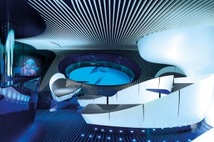 The dark and cavernous Blue Eye lounge has more than a hint of a Bond villain's lair.