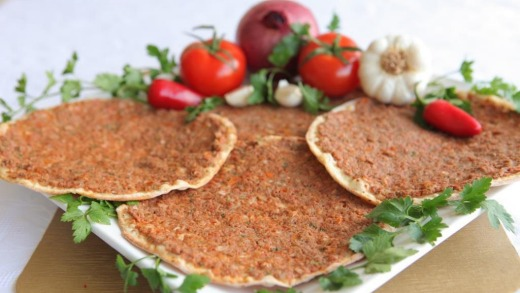Sasoun Bakery's lahmajune, a thin bread covered in minced beef, herbs and vegetables.