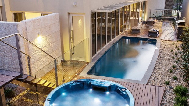 The Frames heated pool and hydrotherapy spa.