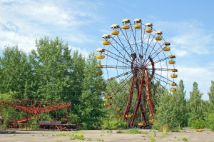 Abandoned ferris wheel in amusement park in Pripyat, Chernobyl.