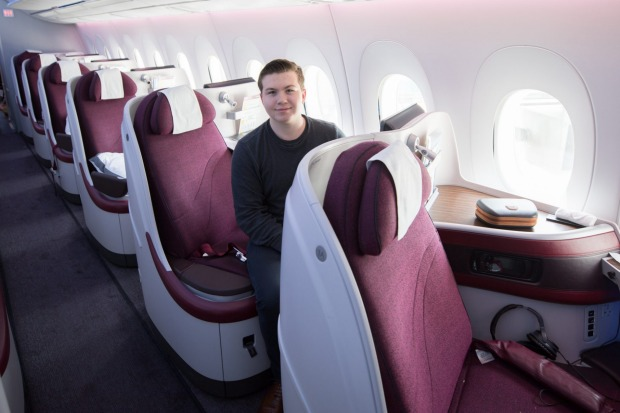 Sixteen-year-old travel blogger Zac George, pictured here on Qatar, became the youngest person ever to buy his own ...