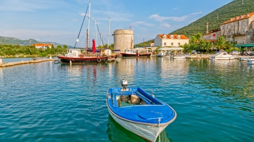 Mali Ston's harbour and the remains of ancient walls and a fortress on the Peljesac Peninsula.