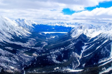 The Canadian Rockies in the Banff National Park. Photo shows the Valley between The Goat Range and The Sundance Range, ...