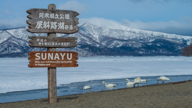 Sunayu Onsen (hot spring) in Lake Kussharo, Hokkaido. It is famous as a winter residential area of whooper swans.