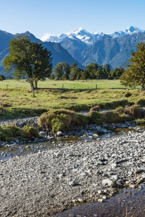 Mount Tasman and Mount Cook dominate a classic bit of Kiwi scenery – translucent river, hillsides tangled with ...