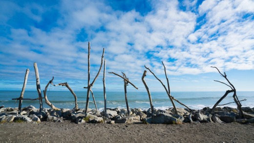 Hokitika's beach is littered with enormous driftwood, much of which has been stacked into an ad-hoc outdoor art gallery.