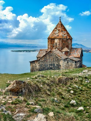 Sevanavank monastery and Sevan lake, Armenia.