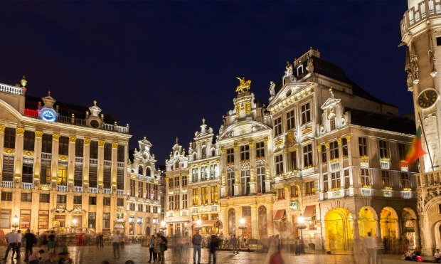 Buildings on Grand Place square in Brussels, Belgium.