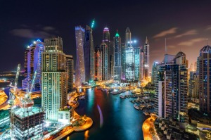 Dubai at night.