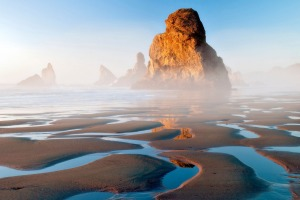 Sea stacks and low tide reflecting pools at Samuel H Boardman State Scenic Corridor, Oregon