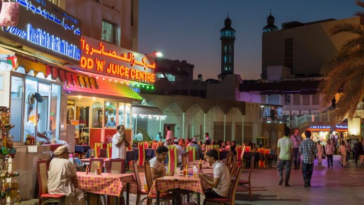 The restaurants in front of Muttrah souq.