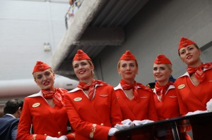 Aeroflot-Russian Airlines PJSC stewardesses look on during the 53rd International Paris Air Show at Le Bourget, in ...