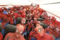 Spider-Men on board Jetstar Japan's first flight from Tokyo to Osaka.
