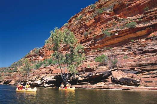Kalbarri National Park, WA. Canoeing through the magnificent red and white banded gorges of Kalbarri National Park is ...