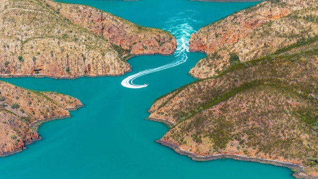 Aerial view of the Horizontal Waterfalls, Talbot Bay.