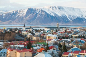 Reykjavik the capital city of Iceland above view from Perlan. str11-savingsplan