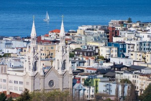 North Beach homes, apartments and Saints Peter and Paul Church.